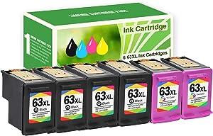 Limeink 6 Remanufactured Ink Cartridge 63XL 63 XL High Yield for HP Envy 4512 4520 Deskjet 3632 2130 2132 1110 3636 3637 1112 3630 3634 OfficeJet 3830 3833 4650 4652 4655 5255 5258 Printer Black Color