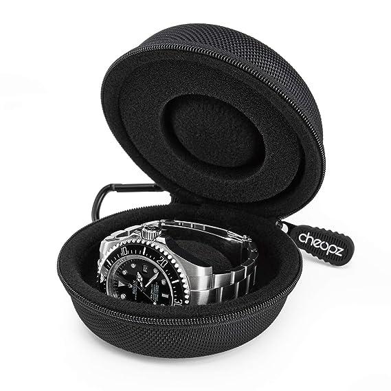 Cheopz - Caja de Almacenamiento para Relojes de Pulsera y Relojes Inteligentes de hasta 50 mm, Color Negro: Cheopz: Amazon.es: Relojes