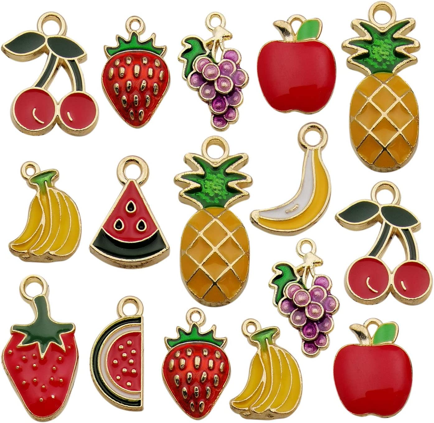 Youdiyla 30pcs Assorted Enamel Plated Gold Fruit Banana Grape Apple Charm for Jewelry Making Necklace Bracelet Ankle Earring DIY Findings (HM299)