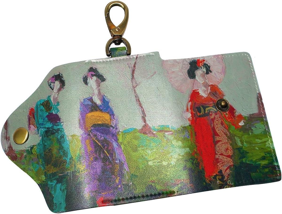 DEYYA Japanese Geisha Girl Leather Key Case Wallets Unisex Keychain Key Holder with 6 Hooks Snap Closure