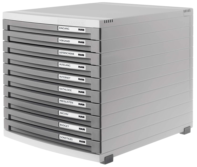 color gris claro Han Contur 10 cajones cerrados, tama/ño B4 Unidad de almacenamiento de escritorio