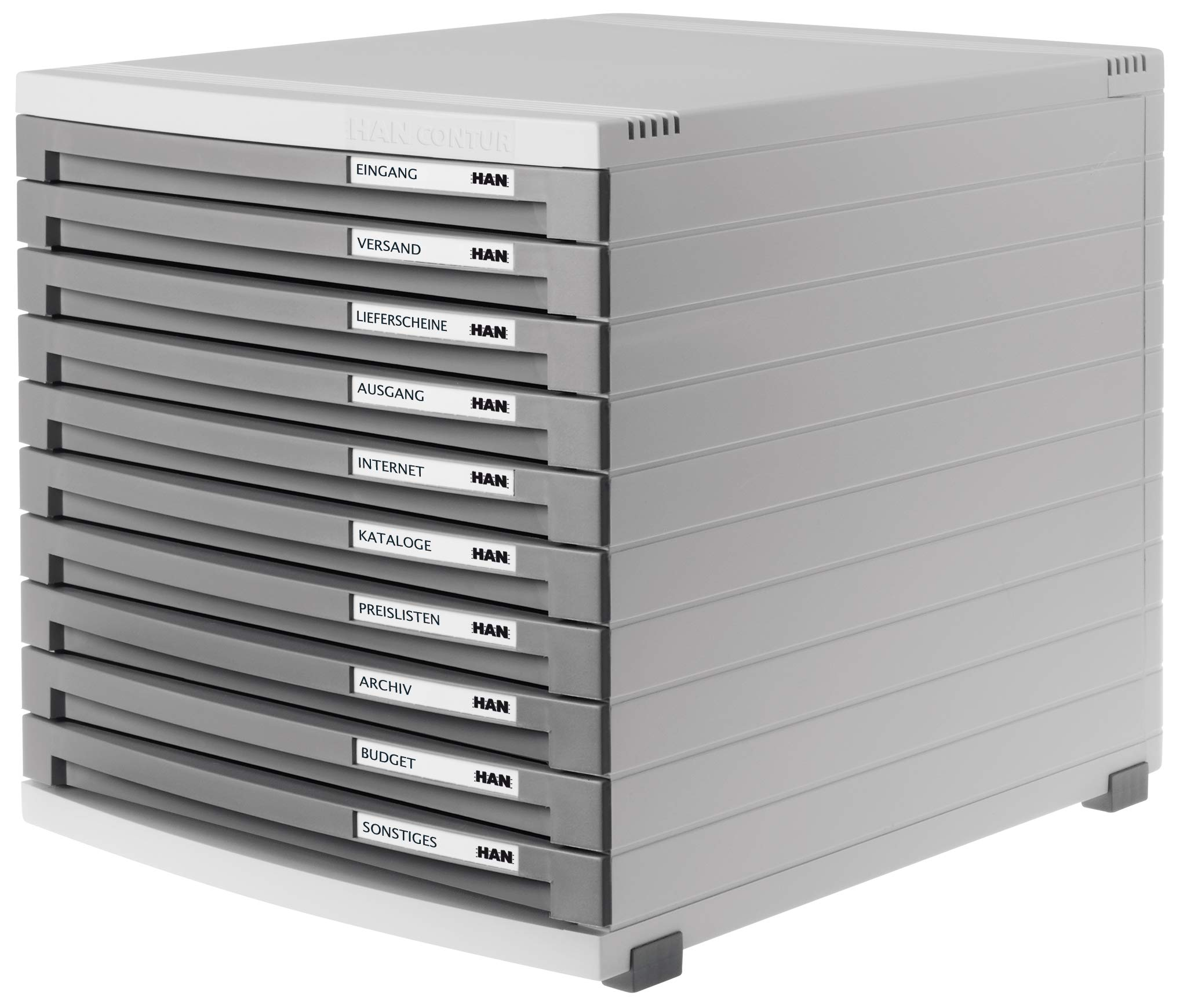 HAN 1510-19, CONTUR Drawer Set. Modern organisational System, Expandable, Premium Quality for a Highly Professional Organisation with 10 Closed Drawers, Light-Grey-Dark-Grey by HAN