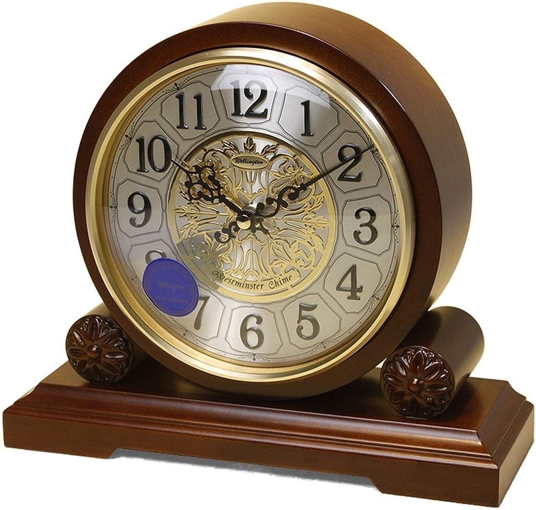 Vioaplem Música carillón Cada Hora el Reloj de Tabla de Madera Antigua de Europa silencioso Cuarzo de sobremesa Reloj de la Chimenea Relojes de Chimenea