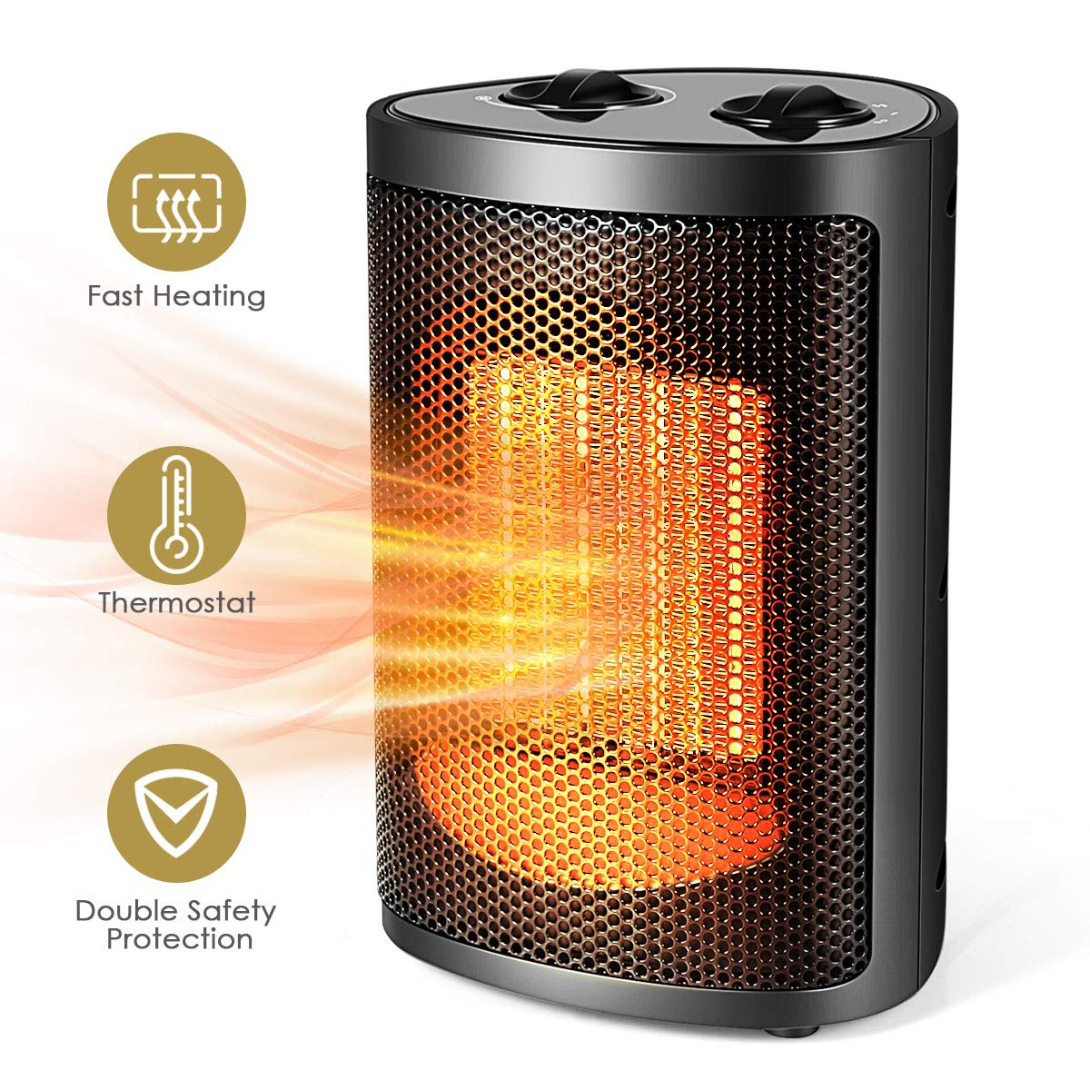 Space Heater, Electric Ceramic Space Heater with Adjustable Thermostat, 750-1500W Duoble Safety Protection Desk Heater for Home Office, Portable Heaters