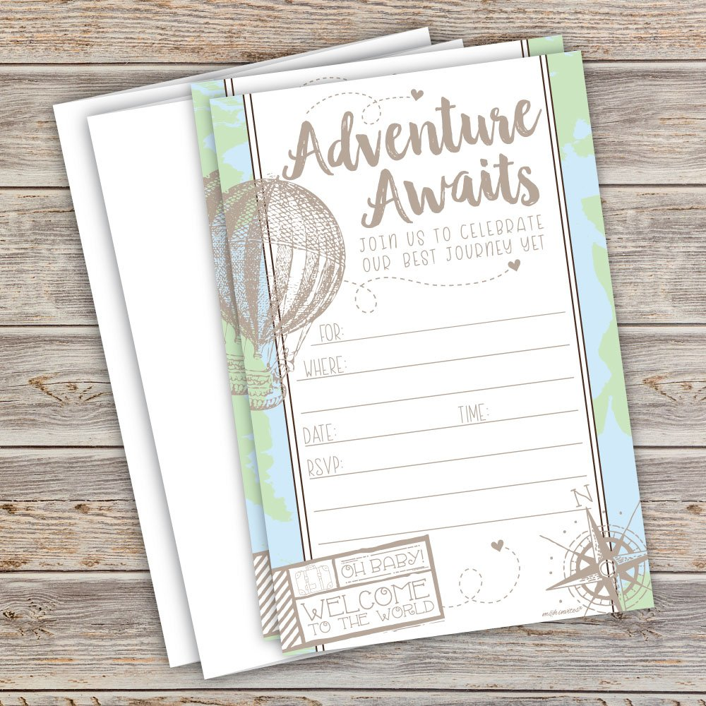 20 Count with Envelopes Adventure Travel Baby Shower Invitations