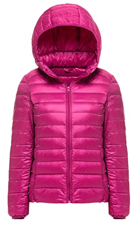 343143636 Cheerun Women's Hooded Packable Down Coat Ultra Light Weight Short Down  Jacket Women Rose Red US