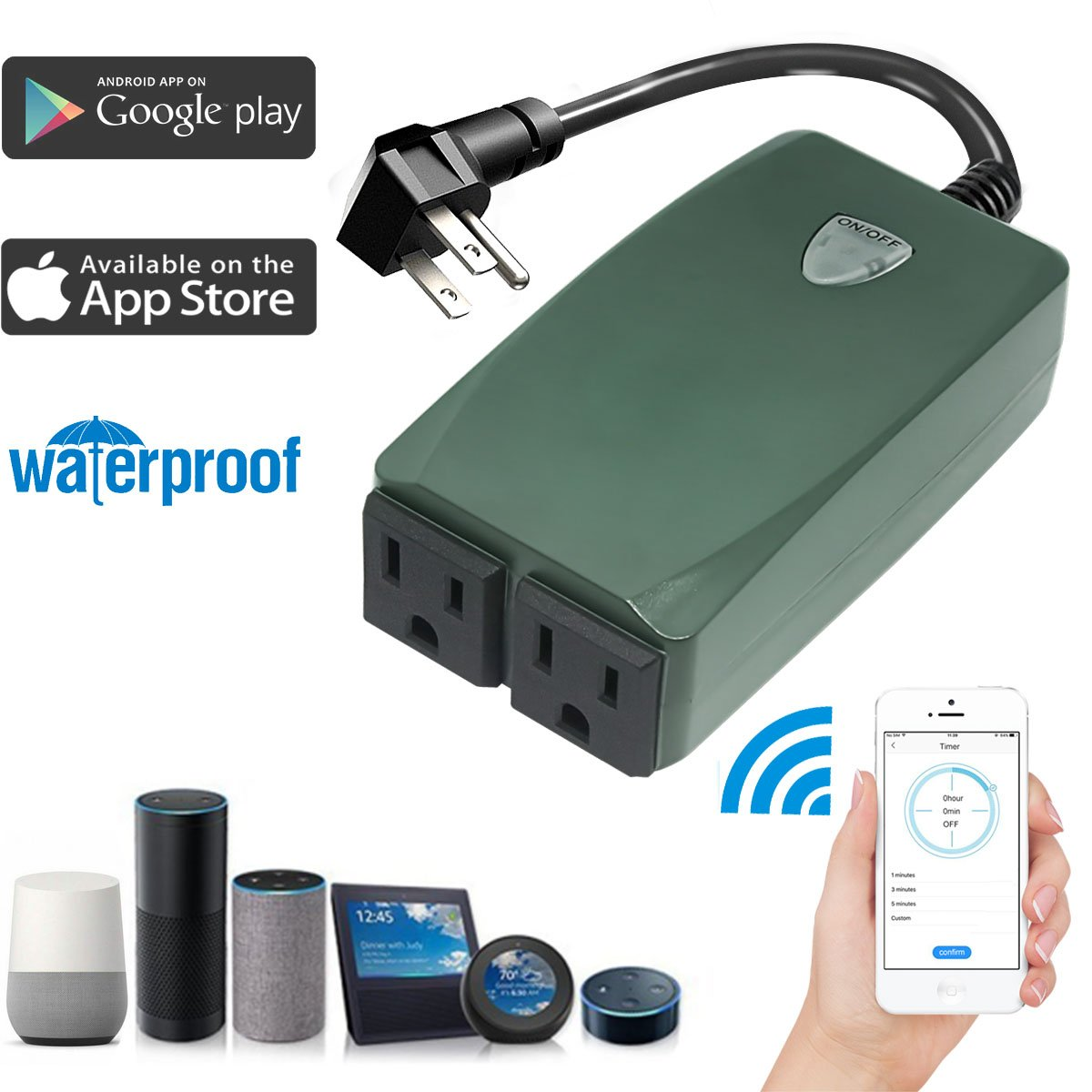 JRSOKO Wireless Wifi Outlet Compatible with Alexa, Dual Waterproof Outlets,Wireless Smart Outdoor Switch Socket Plug Outlet Timer Control By Smartphone,No Hub Required(Green)