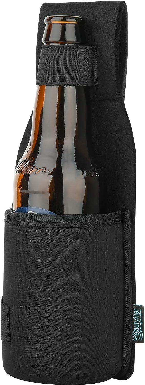 Beautyflier Outdoor Drink Hip Holster Handmade Neoprene Single Bottle Can Beverage Holder Black
