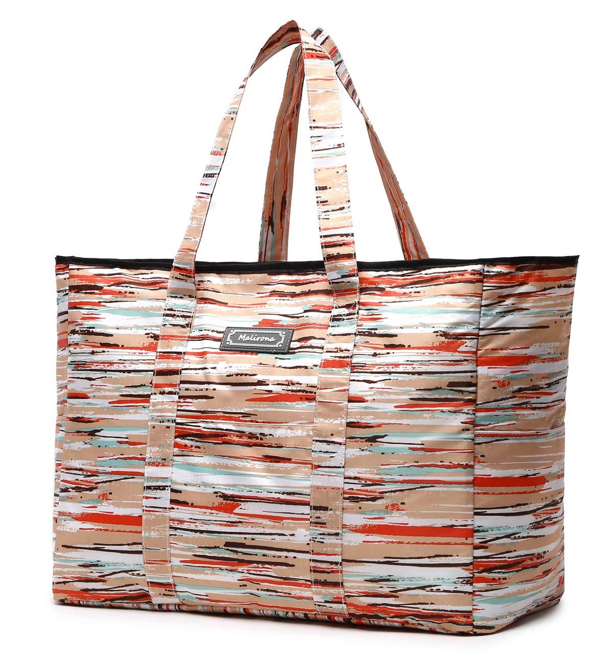 f13274e75e1 Amazon.com: Malirona Polyester Large Tote Bag, Folds Flat, Water Resistant,  Sturdy Base, Beach bag, shopping bag, outdoor storage bag (Rainbow stripes):  ...