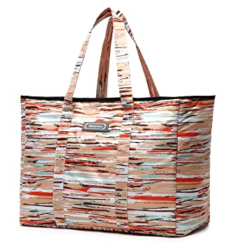 45125222b14b Malirona Polyester Large Tote Bag, Folds Flat, Water Resistant, Sturdy  Base, Beach bag, shopping bag, outdoor storage bag (Rainbow stripes)