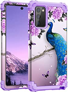 PIXIU for Samsung Galaxy Note 20 Ultra Case, 3 in 1 Full-Body Shockproof Protective Phone Case for Galaxy Note 20 Ultra 2020 Released Peacock