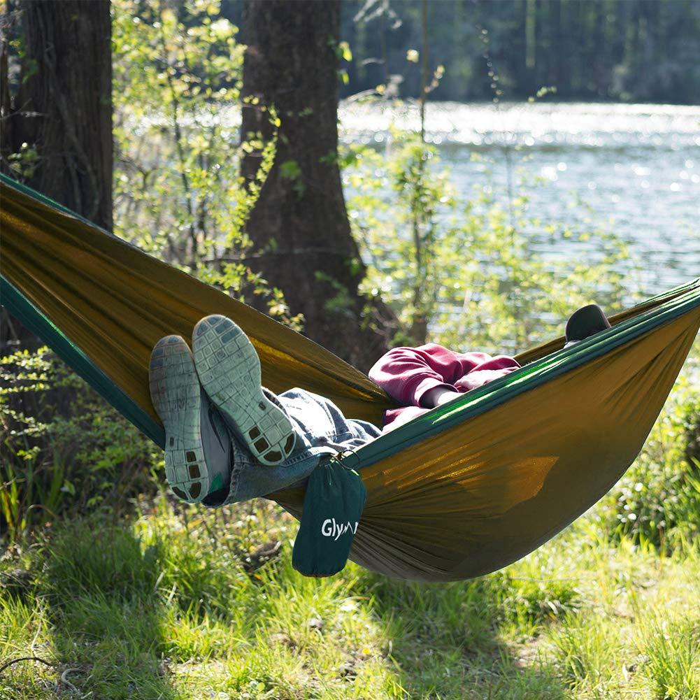 Glymnis Hamac Camping Ultra-l/éger de Voyage en Nylon 300kg Capacit/é de Charge Set avec 2 Sangles 2 Mousquetons Noirs pour Camping Randonn/ée P/édestre Jardin Voyage