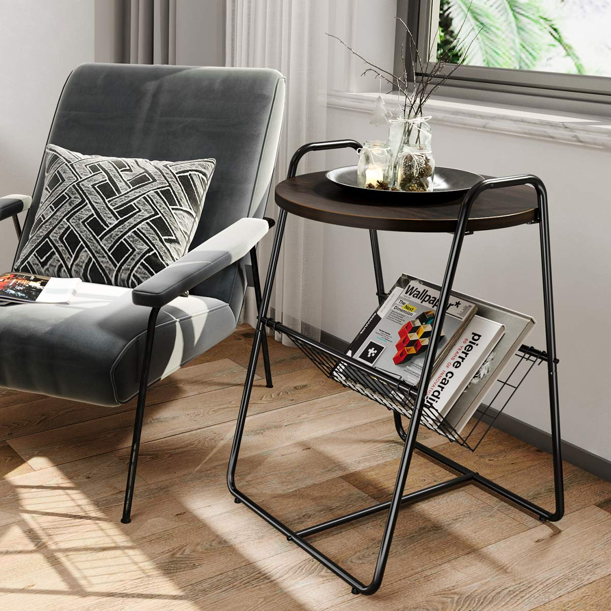 Homemaxs Side Table Round End Table with Metal Storage Basket for Living Room, Bedroom, Walnut Black, 17.7 17.7 26.4 in