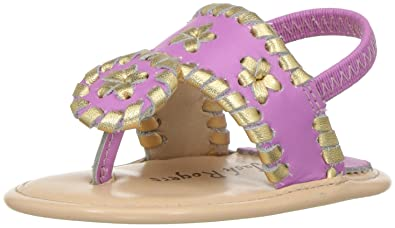 b47325339614 Jack Rogers Girls  Baby Hollis Flat Sandal Lavender Pink Gold 0-3 Months