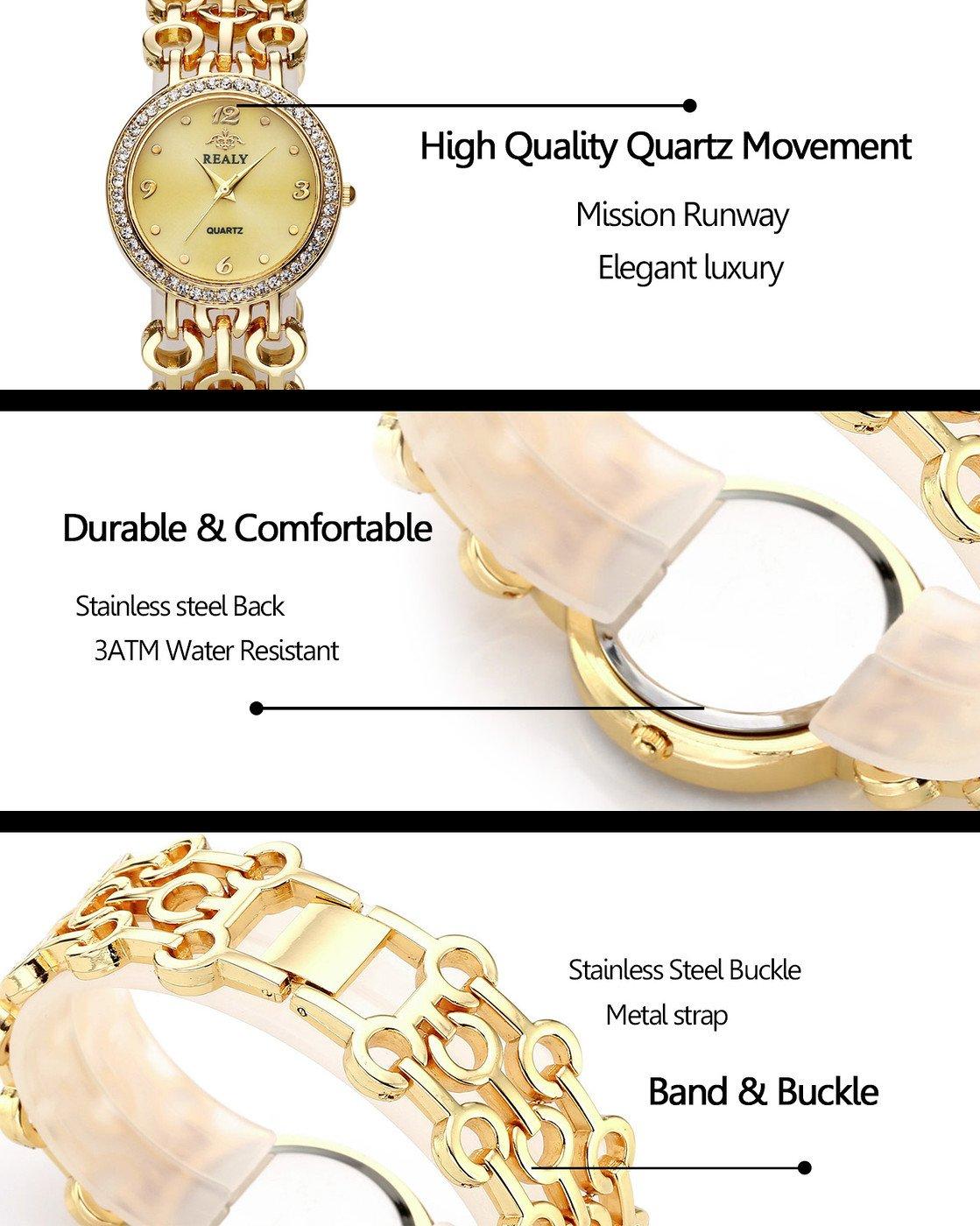 Top Plaza Women Elegant Fashion Bracelet Analog Quartz Watch Rose Gold Tone Rhinestone Case Big Face Large Dial Wide Band Waterproof Cuff Watch by Top Plaza (Image #4)