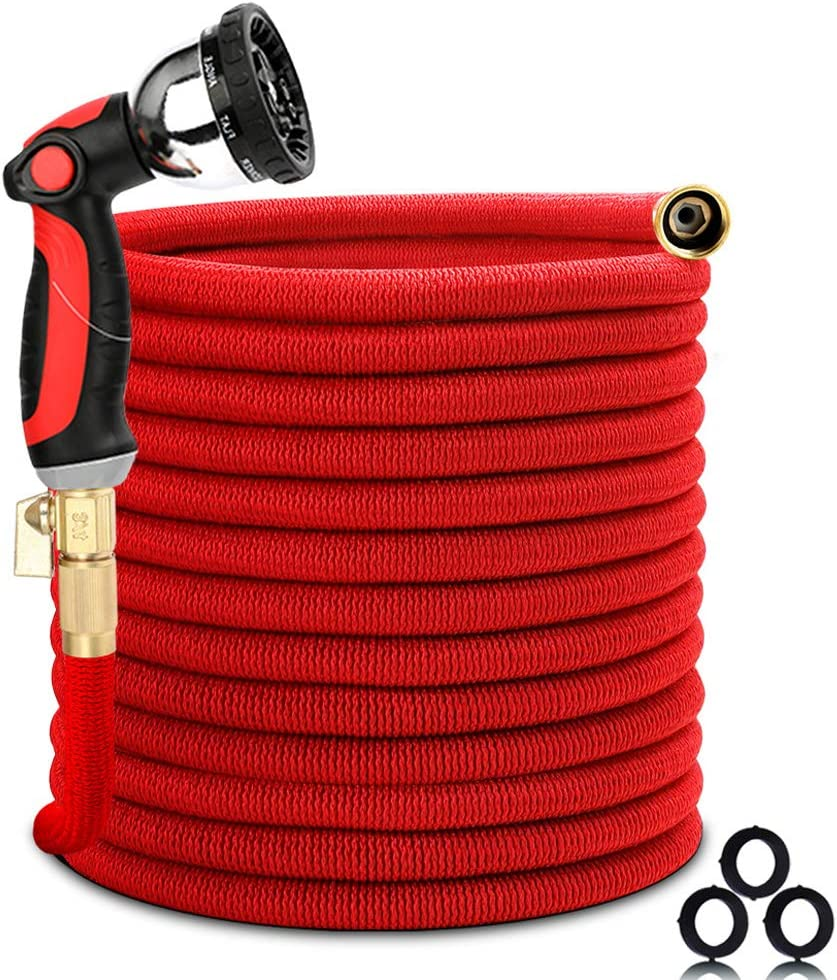 Homes Garden Flexible and Expandable Garden Hose 50 FT, No Leaking, No Kink, Lightweight, Durable, with 10 Function Spray Nozzle, 3/4