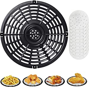 Ganganmax Air Fryer Rack & Replacement Tray Accessory,Deep Fryer Pan Parts for Power Dash Chefman 5QT,Crisper Plate,Non-Stick Grill Pan,Dishwasher Safe(8.74 inch) (5QT)