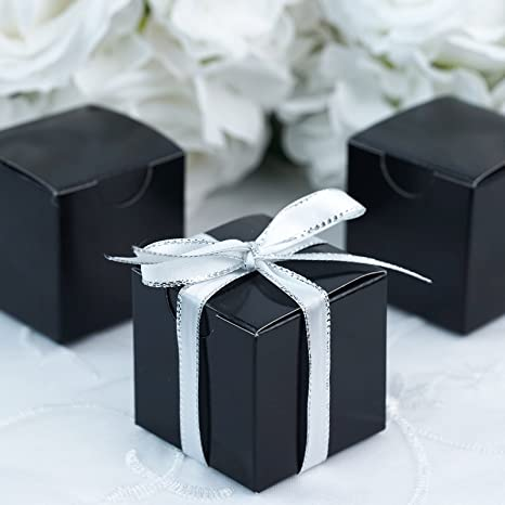 Box Only Luxury DIY Wedding Party Favour Gift Boxes SILK BLACK