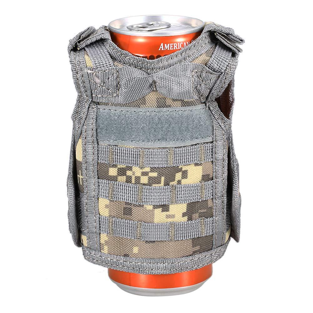 Godyluck Mini Bottiglia da Birra Gilet Militare Beverage Cooler Holder Regolabile Tactical Cup Holder Arancione