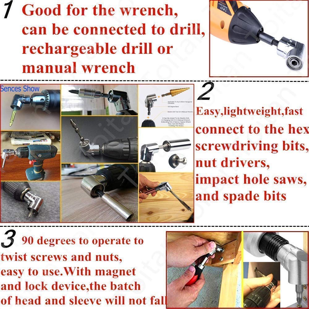 Impact Grade Socket Wrench Adapter Extension Set,105/°Right Angle Drill Attachment Bit Extension 1//4-inch Hex Drive Drill Bit Power Socket Screwdriver Set Holder Adaptor+3Pcs Hex Socket Adapter Bit
