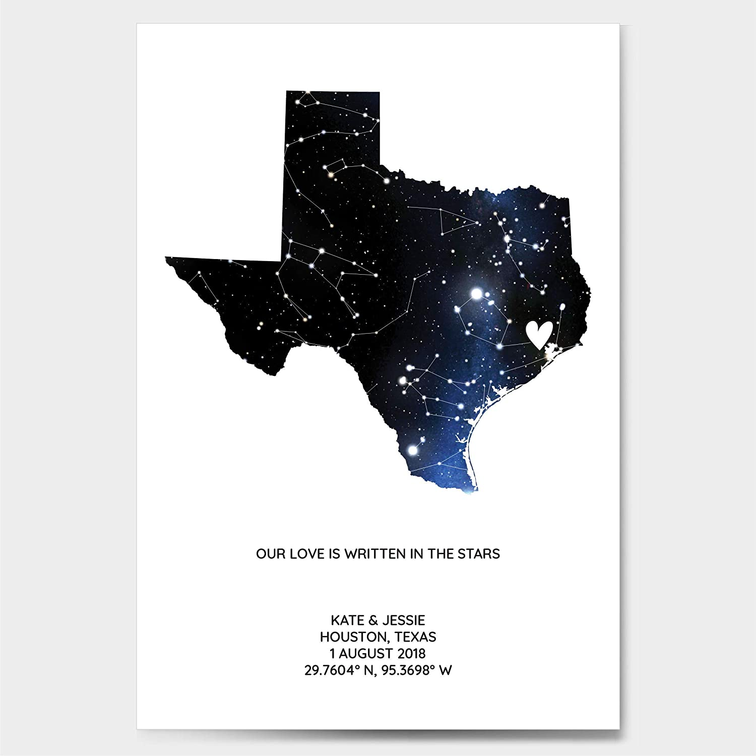 Personalized Star Constellation Map State OR Country Chart Gift Wedding Guest Book Alternative Custom Engagement Anniversary Birthday Present