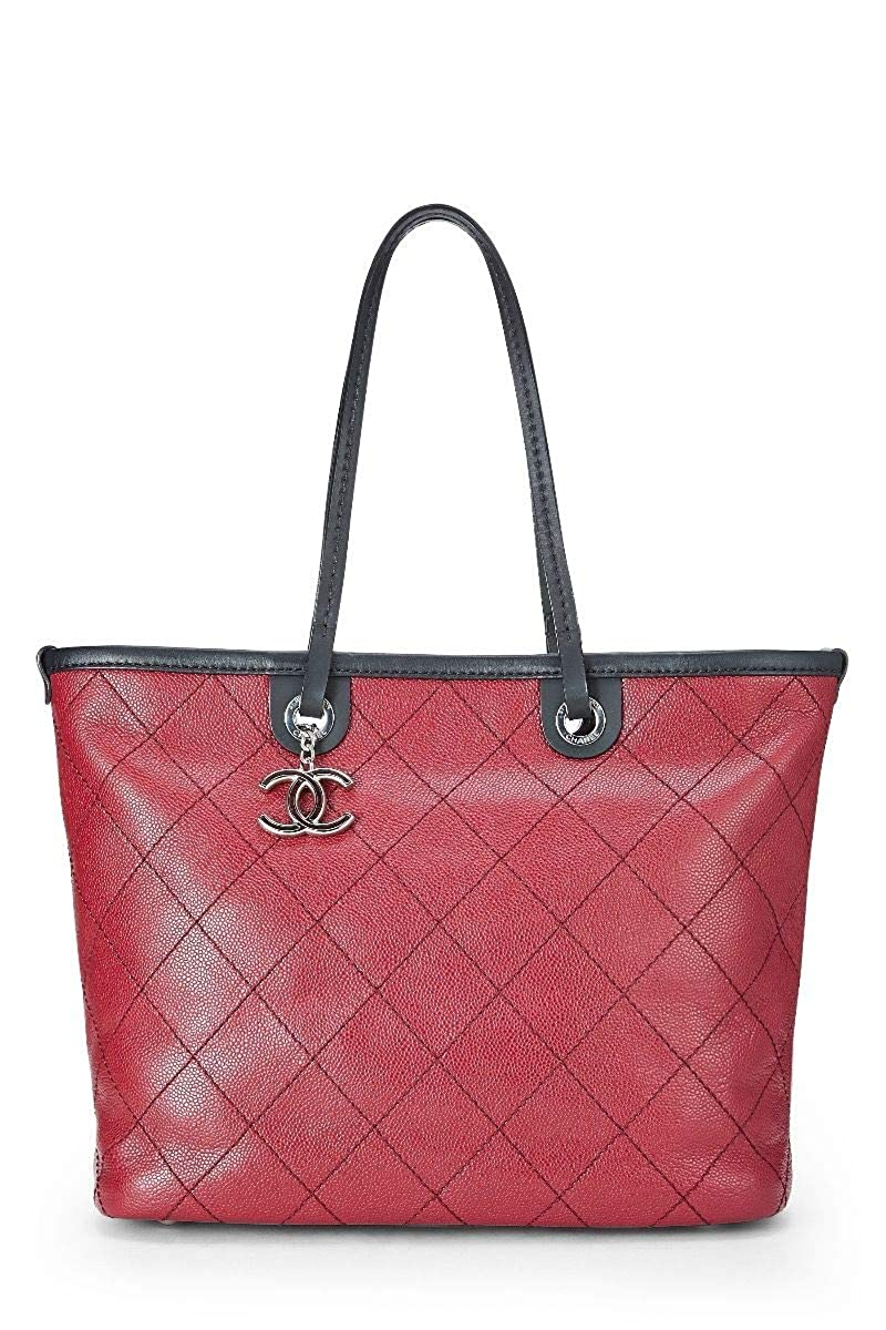 021dc24cc491 Amazon.com  CHANEL Red Quilted Caviar Paris-Biarritz Tote (Pre-Owned)  Shoes
