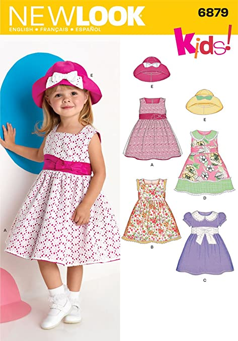 New Look 6879 Size A Toddler Dresses Sewing Pattern, Multi-Colour ...