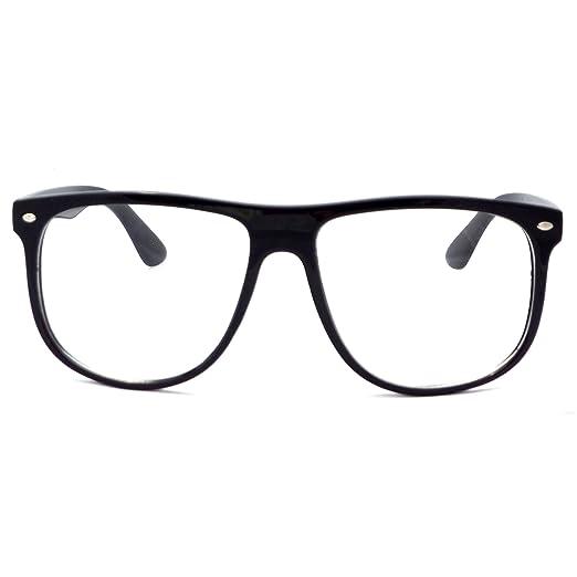 44560b4b98ea9 Amazon.com: NERD Geek Oversized Flat Top Frame Unisex Clear Lens Eye ...