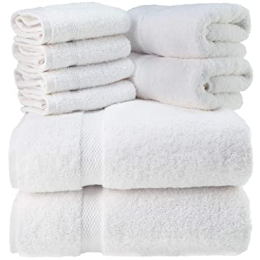 Luxury White Bath Towel Set - Combed Cotton Hotel Quality Absorbent 8 Piece Towels | 2 Bath Towels | 2 Hand Towels | 4 Washcloths [Worth $72.95] White | 8Pc