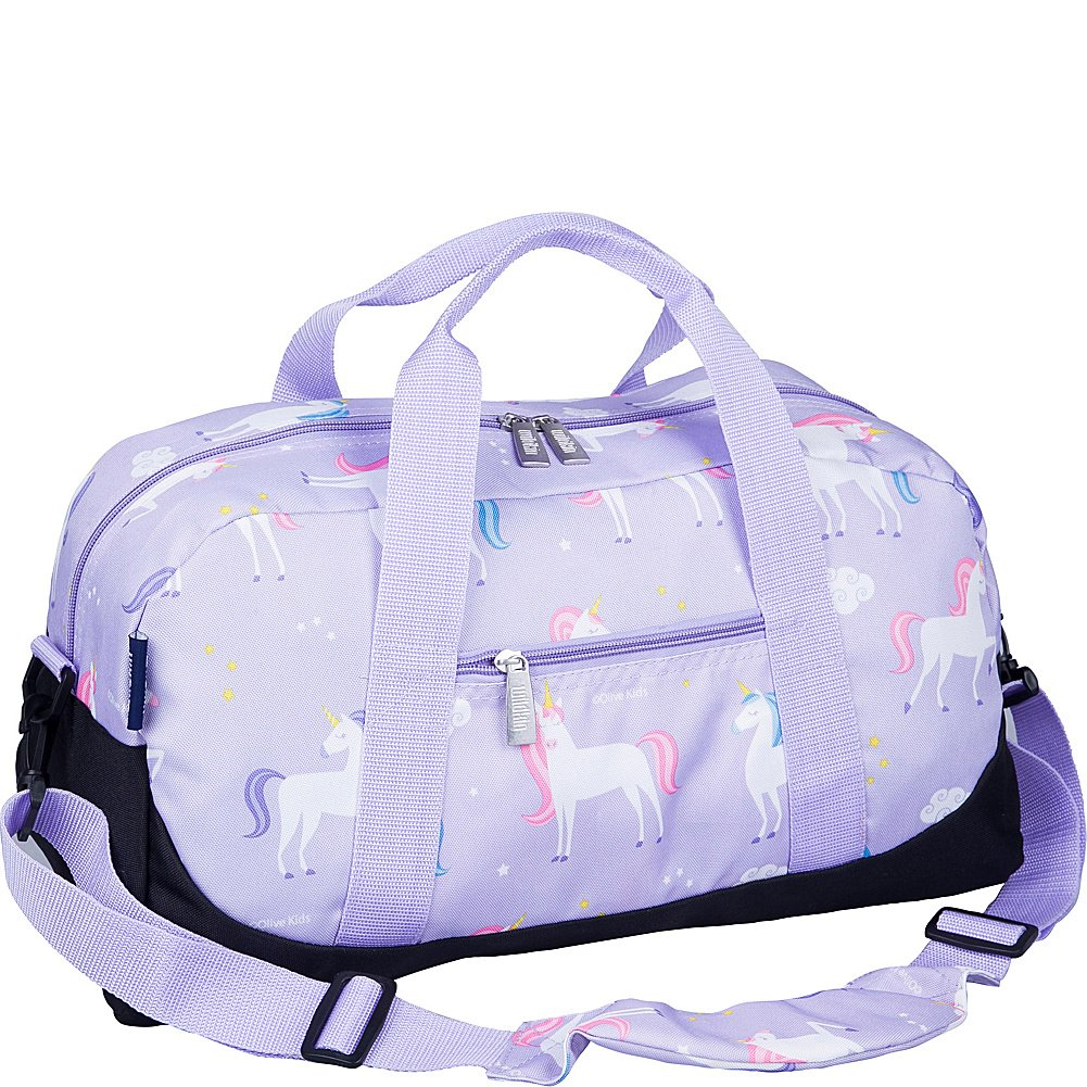 Wildkin Overnighter Duffel Bag, Features Moisture-Resistant Lining and Padded Shoulder Strap, Perfect for Sleepovers, Sports Practice, and Travel, Olive Kids Designs, Unicorn