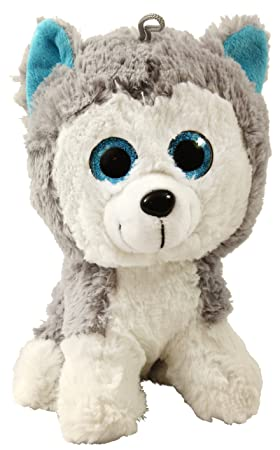 knuffiger Husky de peluche con grandes ojos brillantes, aprox. 20 cm, grande