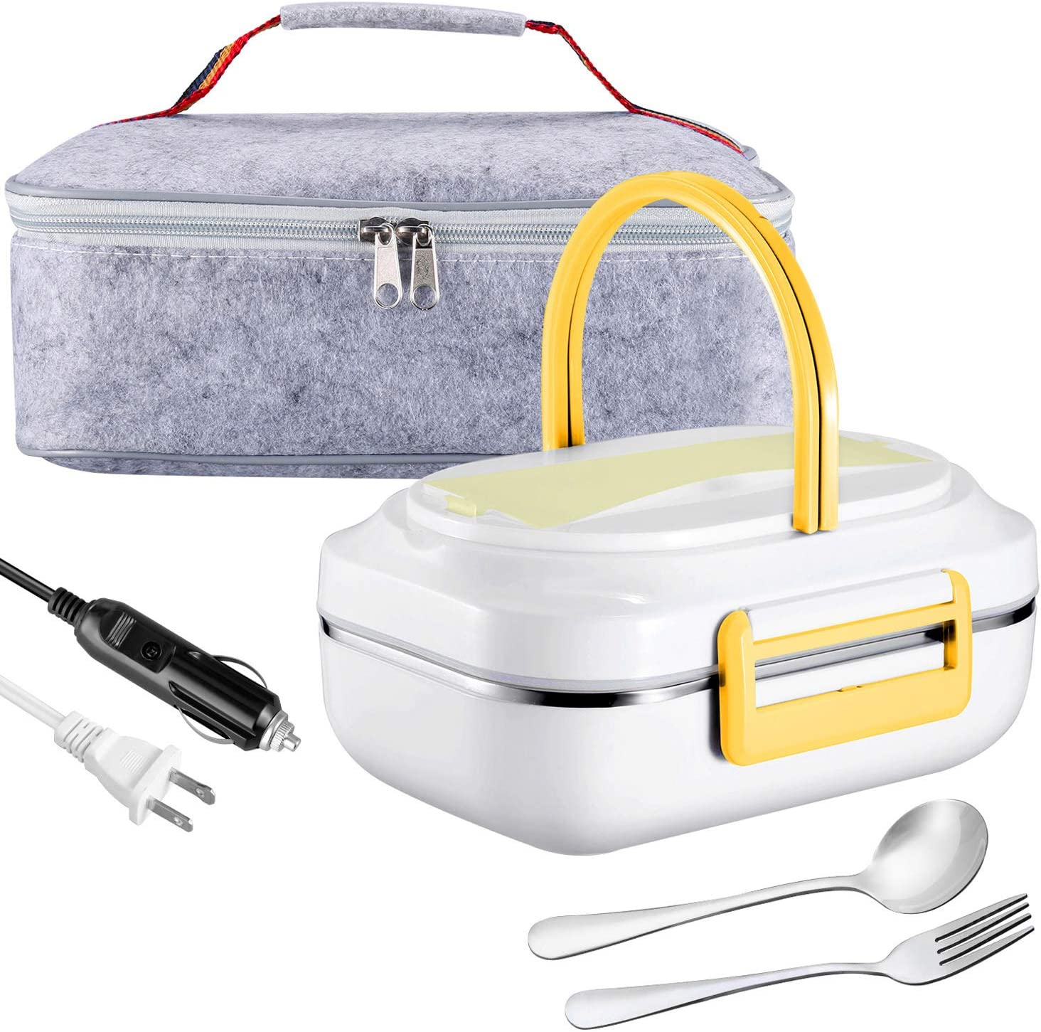 Electric Lunch Box Heating Lunchbox - Farochy Car Food Warmer and Heater Lunch Box Electric Lunch Box 2 in 1 for Car and Home 110V & 12V(Yellow)