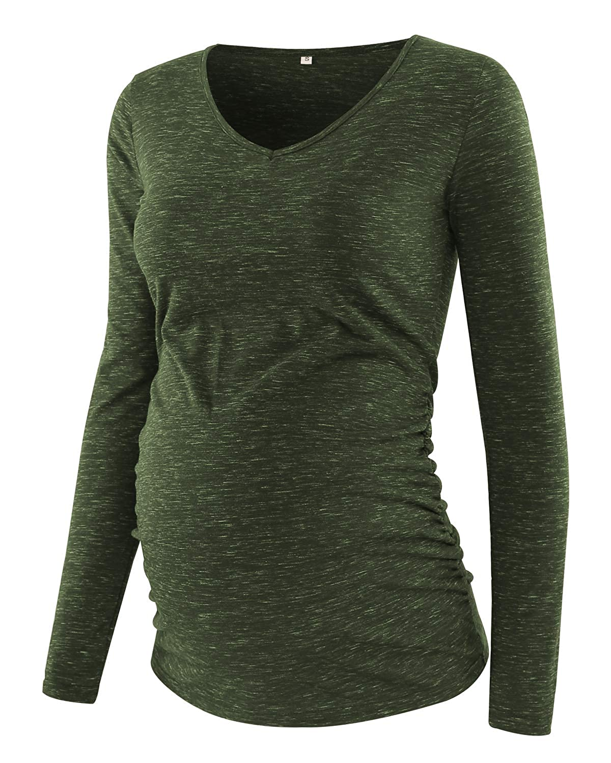 Glampunch Womens Maternity Shirts V Neck Long Sleeve Side Ruched Pregnancy Tops