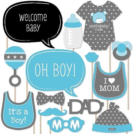Amazon Com Big Dot Of Happiness Baby Boy Baby Shower Photo Booth