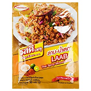 RosDee menu, Thai Spicy Minced Meat, LAAB-NAMTOK Sauce Powder 30g X 3 Packs