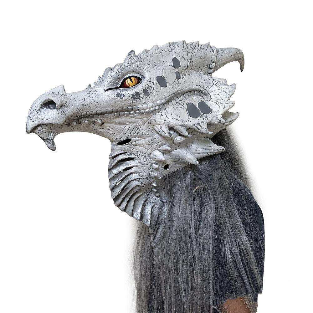 Circlefly Horror maschera di Halloween mostro realistiche argento puntelli spaventosi di Dragon maschera Costume Party