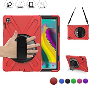 BRAECN Samsung Galaxy Tab S5e Case, Hybrid Rugged Protective Shockproof Case with Shoulder Strap,Rotating Kickstand and Adjustable Handle Strap for Galaxy Tab S5e 10.5 Inch T720/T725 2019 Model (Red)
