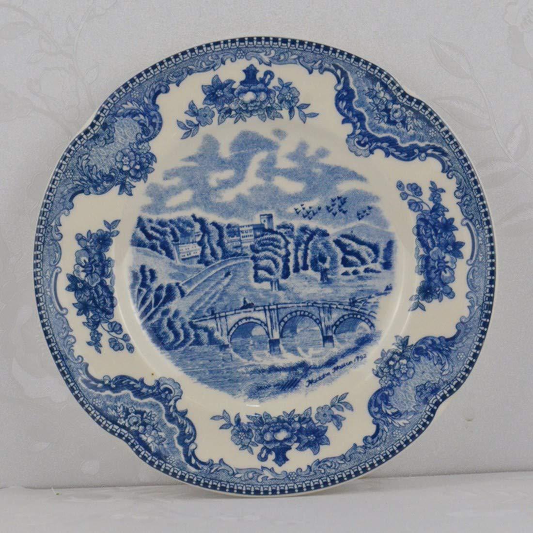 QPGGP-Teller Blaue Schloss Keramik, westlichen Stil Steak, Platten, kaffeetassen, Dekorationen, Platten,ich