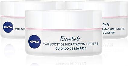 NIVEA Cuidado de Día Nutritivo en pack de 3 (3 x 50 ml), crema facial con protector solar 15 y protección UVA, crema de día de cuidado esencial para piel seca: Amazon.es: Belleza