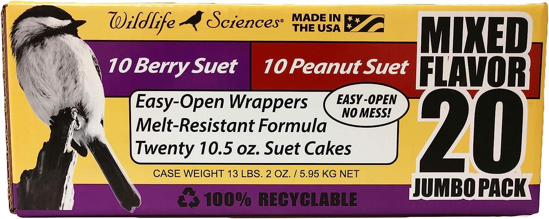Suet Cake Jumbo Mixed 20 Pack | 10 Peanut & 10 Berry 10.5 oz. Suet Cakes for Wild Birds