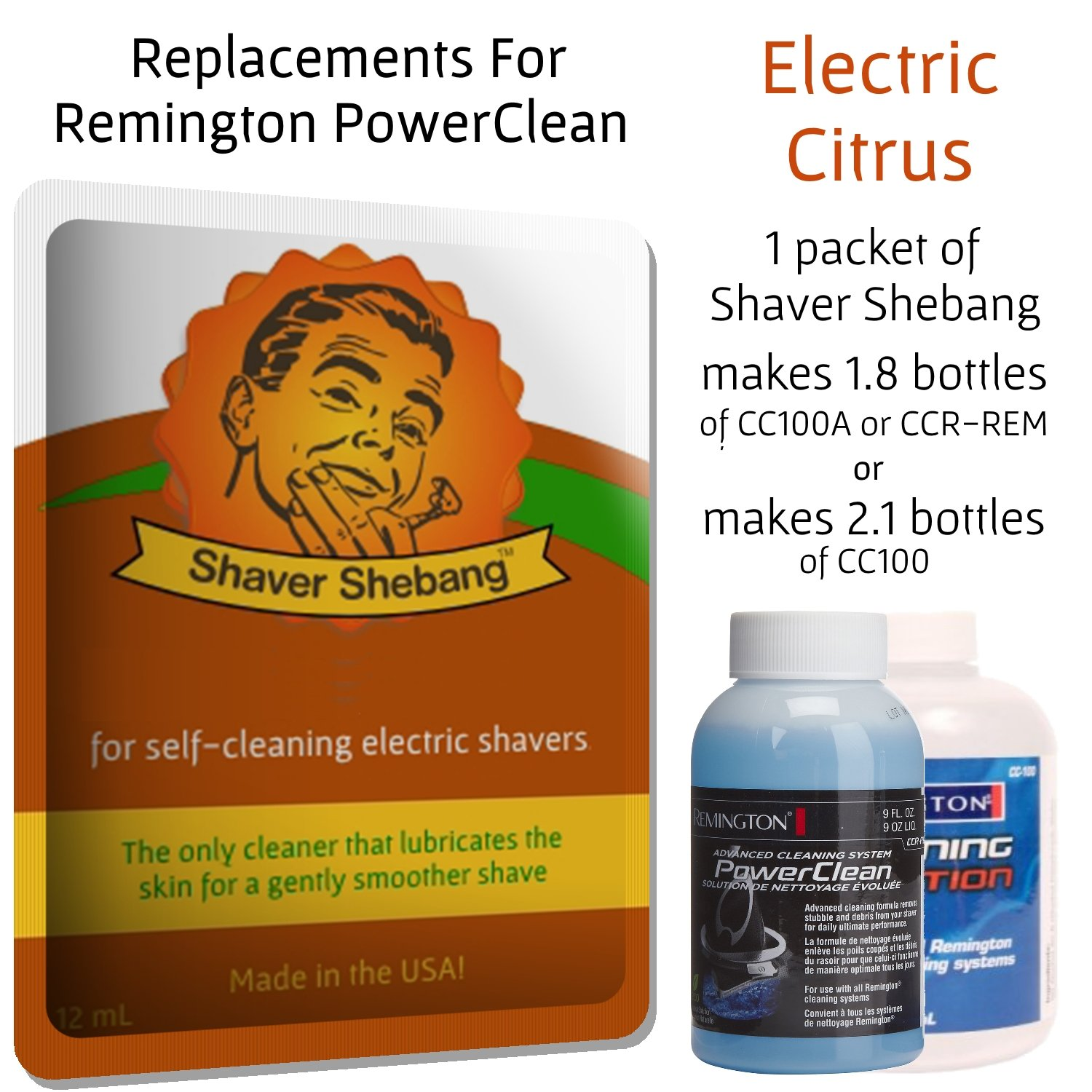 3.5 Remington Power Clean CC100A CCR-REM Aqueous Cleaning Solution - Get a smoother shave! Patent Pending - Citrus Tree - for most Remington Power Clean systems.