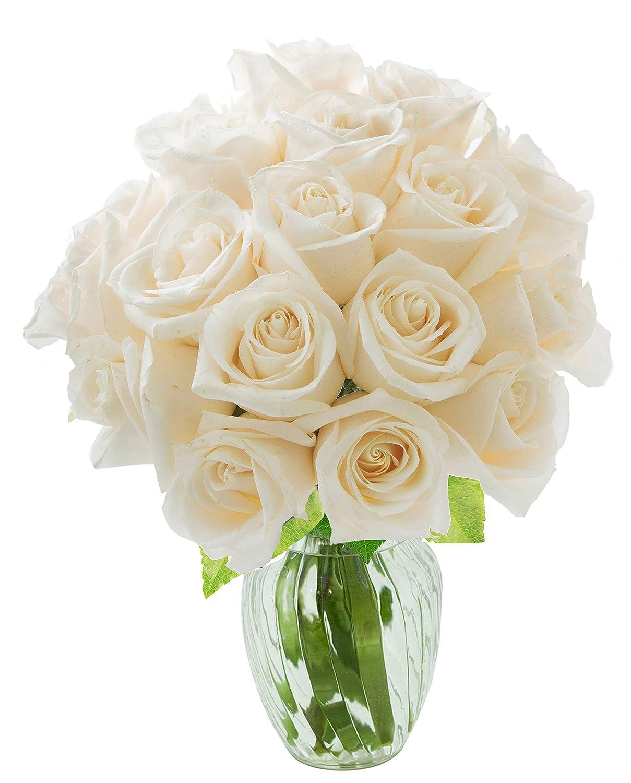 Amazon Kabloom Bouquet Of 18 Fresh White Roses Farm Fresh