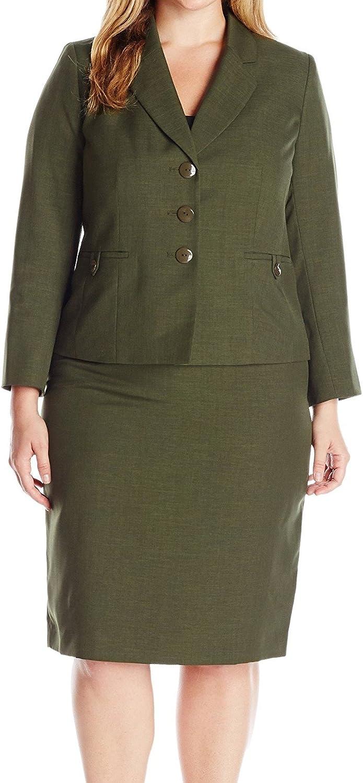Le Suit Womens 1 Button Zipper Pocket Glazed Melange Skirt Suit
