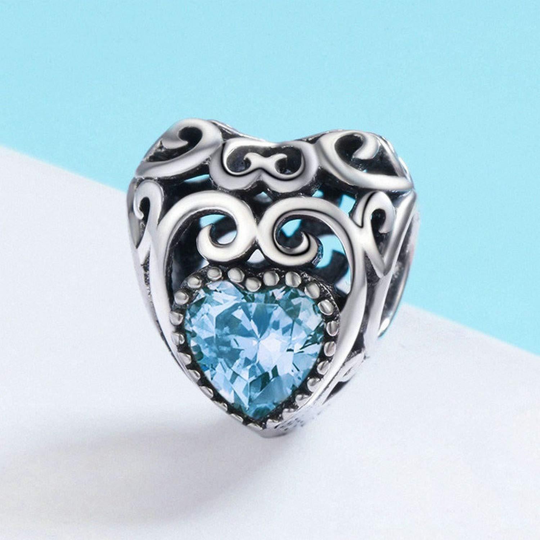 EverReena March Birthstone Signature Heart Love Charm Silver Beads Bracelets