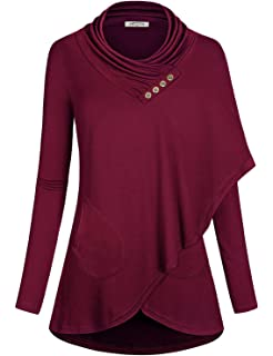3a55d608a SeSe Code Women's Cowl Neck Long Sleeve Asymmetric Boho Floral Tunic ...