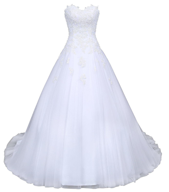 Romantic-Fashion Brautkleid Hochzeitskleid Wei/ß Modell W046 A-Linie Satin Stickerei Perlen Pailetten DE
