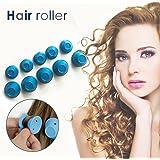 Bigoudis Magique, Bigoudis Flexibles Cheveux Rouleaux Courts Silicone Bigoudis Magique Cheveux Longs Pas de Chaleur Hair Curlers Rollers (Bleu)