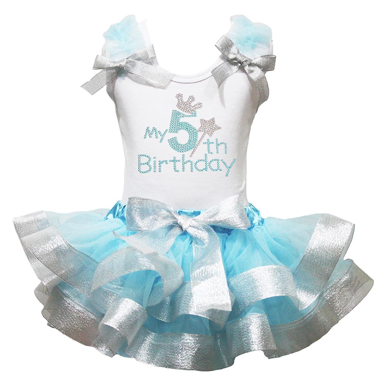 Petitebella My 5th Birthday Shirt Light Blue Sliver Petal Skirt Outfit Set Nb-8y PO1442
