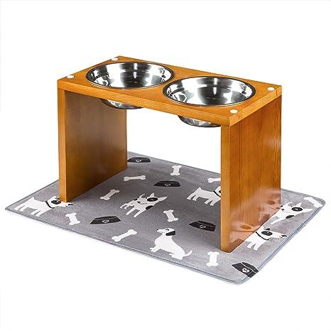 Yangbaga Comedero para Perros Grande Doble para Perros Gatos,Cuenco Elevado para Mascotas de Acero Inoxidable- con Soporte de Bambú y ...