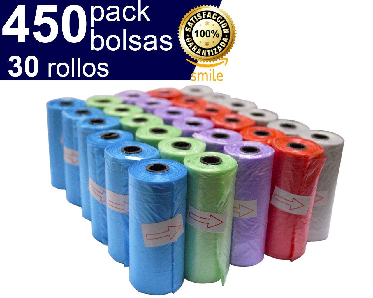 BriMix 450 Bolsas para excrementos de perros Color SURTIDO. Fá cil de separar. 30 rollos x 15 bolsas/rollo. Poop bags para recoger la caca de su perro o heces de las mascotas. Tamañ o Grande